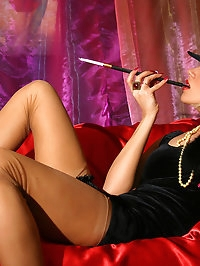 Leggy gangster babe in classic stockings