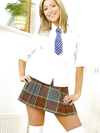 Ultra sexy Lucy in college uniform with over the knee socks