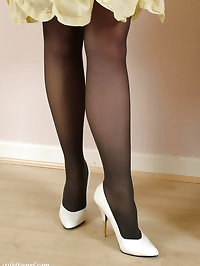 These white high heels look stunning on this slender blonde
