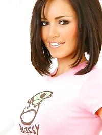 Gorgeous Gemma in a cute pink top, denim miniskirt and..