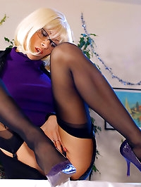 Leggy lady in sexy stockings tease on the table