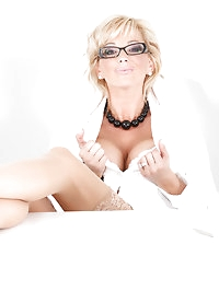 Rachel Aziani in a sexy secretary business suit