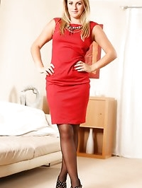 Beautiful Chloe L in tight red dress and high heels.