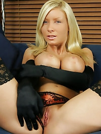 Sexy blonde Helena in satin gloves