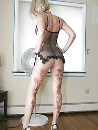Hot blonde milf wife in Sexy Sheer Designed Pattern Nylons