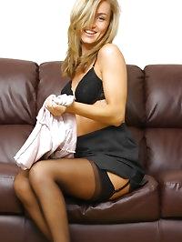 Mel in black stockings looking amazing