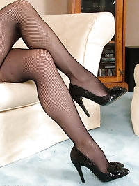 Sexy posh Vicky loves showing off her fishnets and..