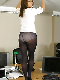 Cute Carla in college uniform with opaque pantyhose