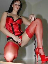 Hooker excites in red lingerie
