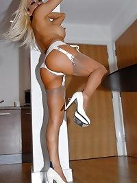Stunning blonde in white lingerie