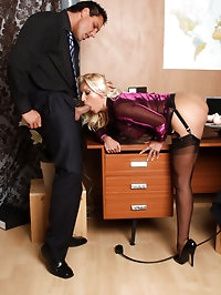 Horny Lana gets caught masturbating in the office and is..