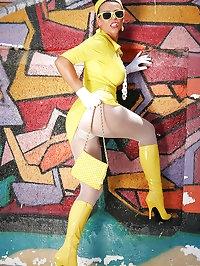 Yellow sexy dress on a slut