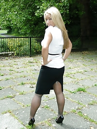 Beautiful blonde shows off her great legs and sexy high..