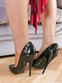 Horny Jenna loves her black high heel stilettos
