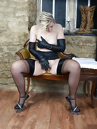 Naughty blonde Milf teasing in hot leather lingerie and..