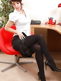 Secretary Jo Louise shows us her black opaque pantyhose in..