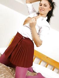 Monica Harris in cute college uniform with pretty pink..