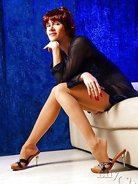 Sexiest MILF legs in original sheer vintage stockings and..
