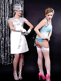 Two blonde magicians have naughty fun