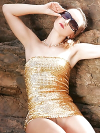 Gold tube dress and nylons