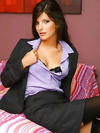 Gorgeous raven haired Lou L in secretary outfit and..