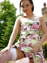 Carla looking stunning in summer dress, white stockings..