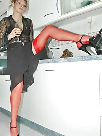 Cutie with sexy red stockings