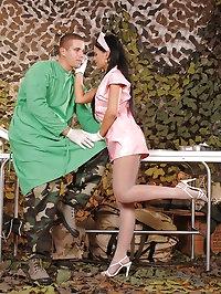 Sexy nurse Angelica gives a footjob