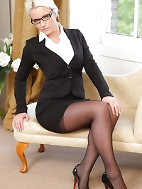 Busty Billie in her office uniform