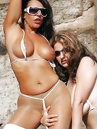 Lesbians play on the beach