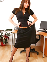 Sexy secretary Jenna seductively strips from her outfit..