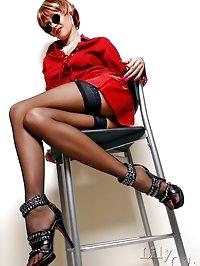 Crazy-long MILF legs in sheer black stockings