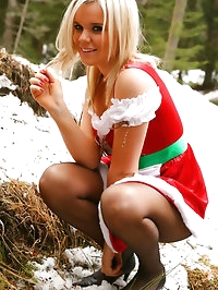 Maria F teases her way out of the gorgeous Christmas dress.