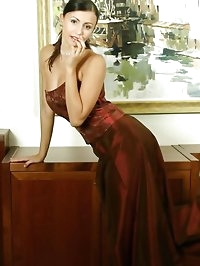 Jenny in evening dress with stockings