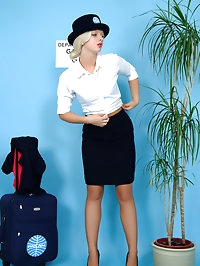 Sexy blonde air hostess reveals her sexy lingerie before..