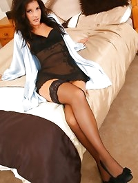 Brunette looks stunning wearing black lingerie and..
