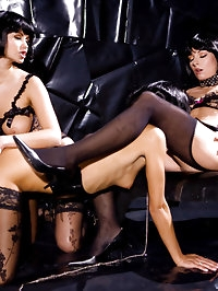 Three brunettes playing with their pussies