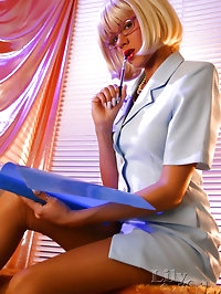 Hot leggy Milf secretary in classic stockings and heels