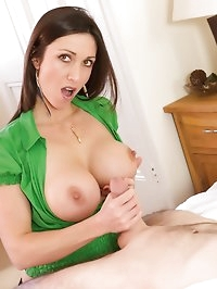 Miss Hybrid  tit wanks a huge cock