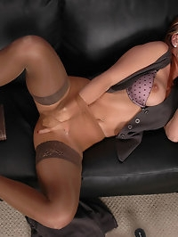 Chick with stockings and hose has lusty phone sex