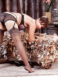 Fantastic brunette mature lady in stockings