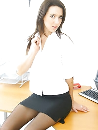 The lovely secretary Sabrina, teases us by slowly slipping..