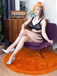 Sapphire in premium French RHT nylons and adorable..