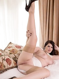 Newcomer, Kylie is presented in vintage nylon slip,..