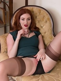 Busty redhead Zara is sexy as hell in sheer coffee full..