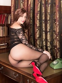 Racy brunette Tracy shows off enviable figure in lacy..
