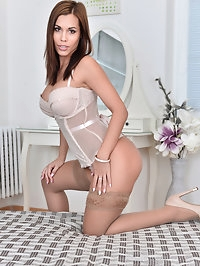 Looking like a dream in white lingerie, Satin Bloom knows..