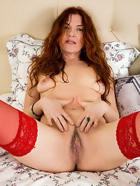 Redhead Russian housewife Monika is getting up there in..