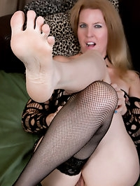 Lacy F stockings and foot fetish