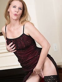 Sultry Lacy F looks amazing in her red dress as she shows..